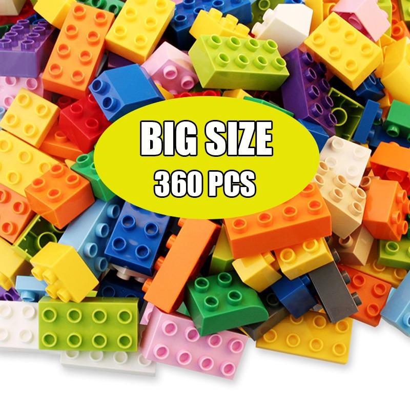 60-360 шт. большой Размеры DIY строительные блоки маленького размера идущие INGlys Duploed строительные блоки аксессуары Развивающие игрушки для дете...