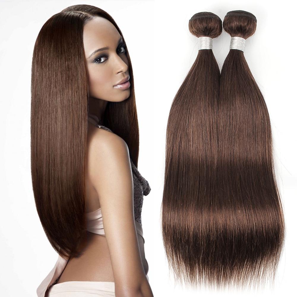 2/3 Bundles Color 4 Chocolate Brown Straight Human Hair Weave Quality Human Hair 10