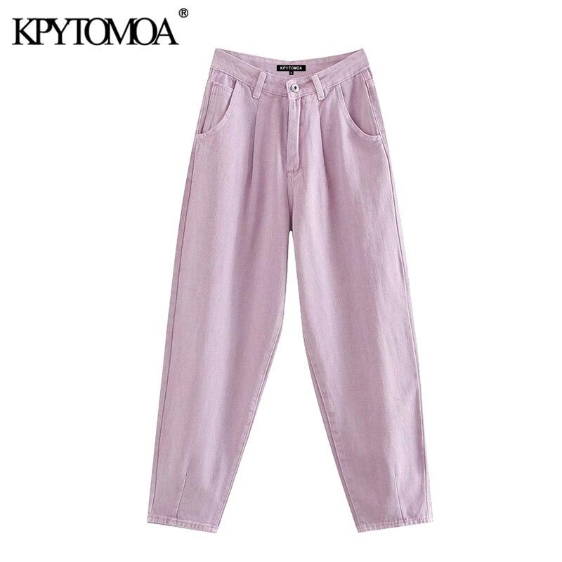 KPYTOMOA Women 2020 Chic Fashion High Waist Darts Jeans Vintage Zipper Fly Pockets Denim Harem Pants Female Ankle Trousers Jean