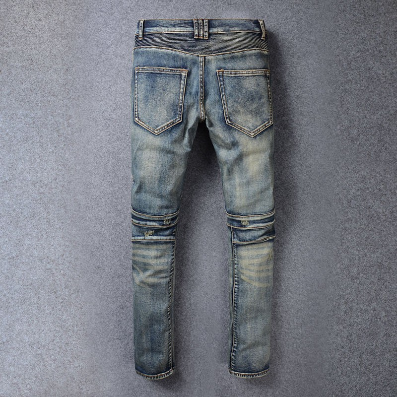 Skinny Motor Men's Jeans Hole Ripped Jean For Mens 2020 Male Wear Fashion Brand Pants For Men Classical Vaqueros Plus Size 42