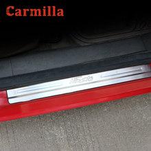 Carmilla paslanmaz çelik araba kapı sürtme plakası kapı eşik plakaları etiket Ford Fiesta için MK7 2009   2014 araba Styling aksesuarları