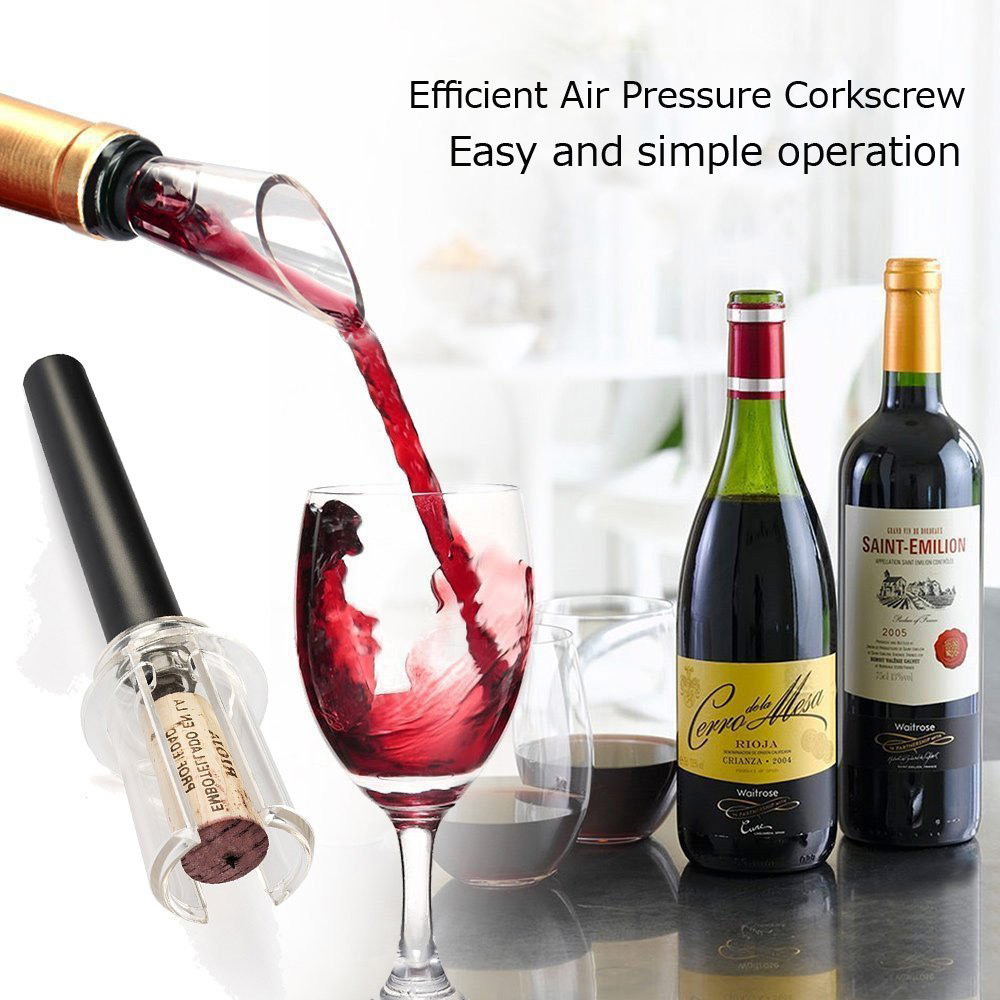 1/4pcs Dropship Kitchen Wine Openers Air Pressure Vacuum Wine Stopper Corkscrew Cork Out Remover Pump Pin Type Openers Easy USE