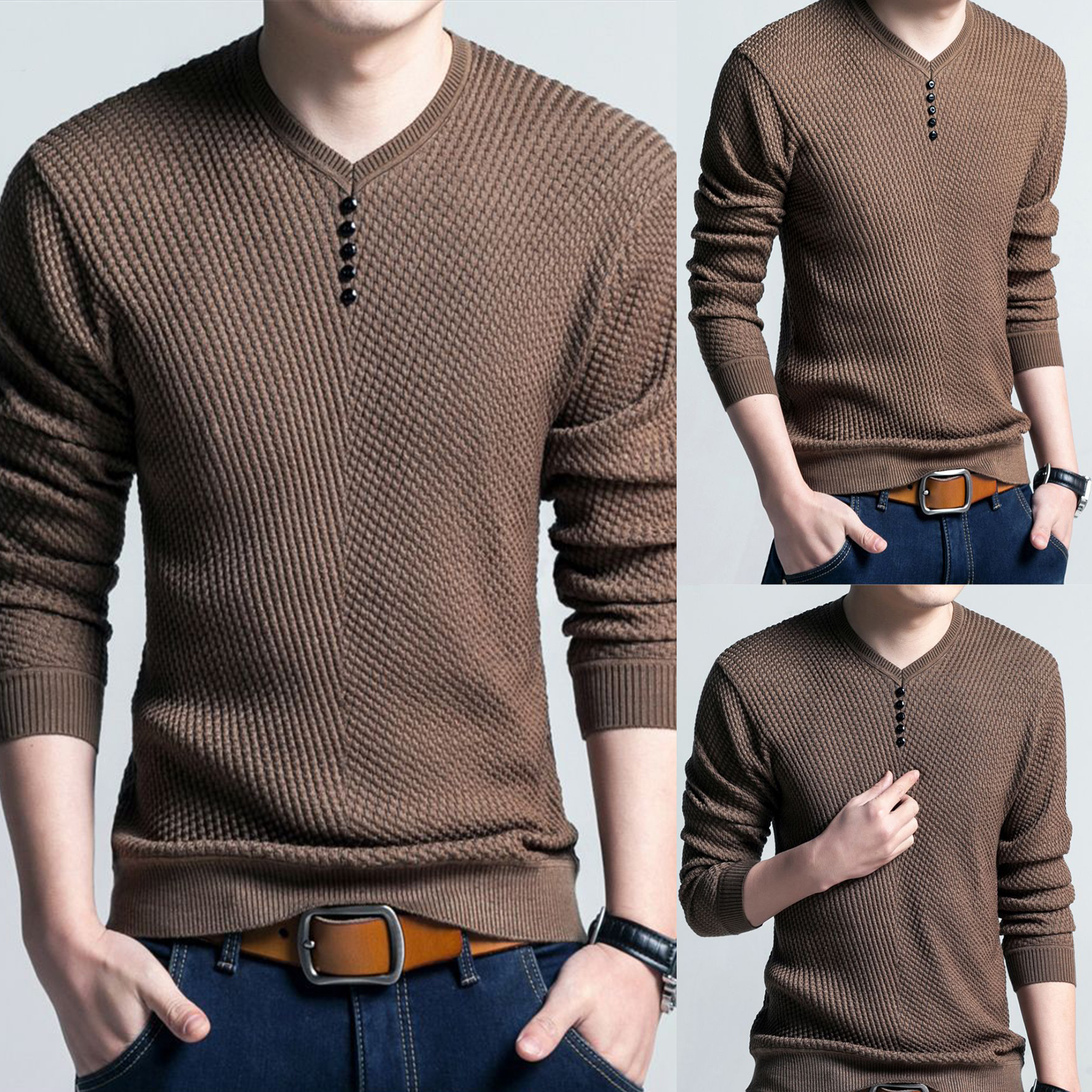 Men Long Sleeve Solid Color Buttons Decor Knitwear Plus Size Bottoming Sweater Men's Knitted Sweaters Pullover Men Knitwear 2020 2