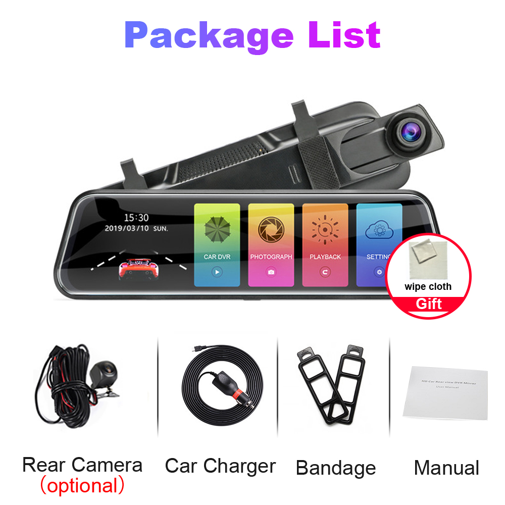 """R-Way 10"""" Dash Cam for Car, 2.5D IPS Mirror  Auto DVR Recorder with Rearview Camera, 1080P HD Video Rec Black Box 6"""