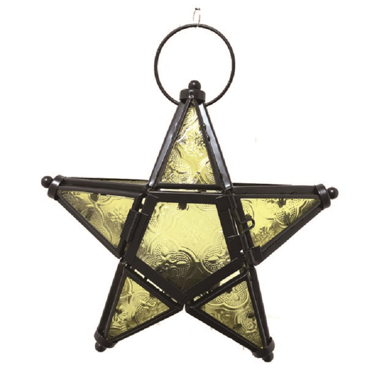 Metal Star Glass Lantern Hanging Candle Holder for Decorative Wedding Party Home Decoration Birthday Party image