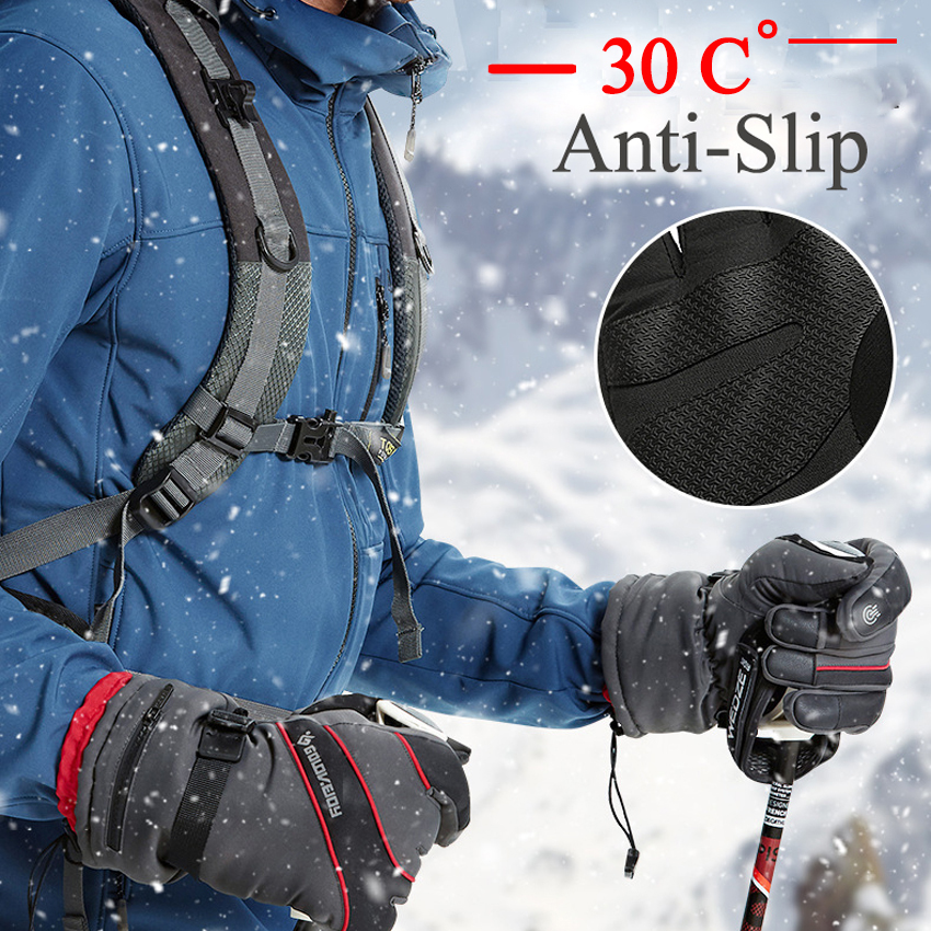 Winter Men Gloves Anti-Slip Four-Layer Warm Gloves Wear Resisting Waterproof Windproof Zipper Pocket Skiing Gloves Thicken