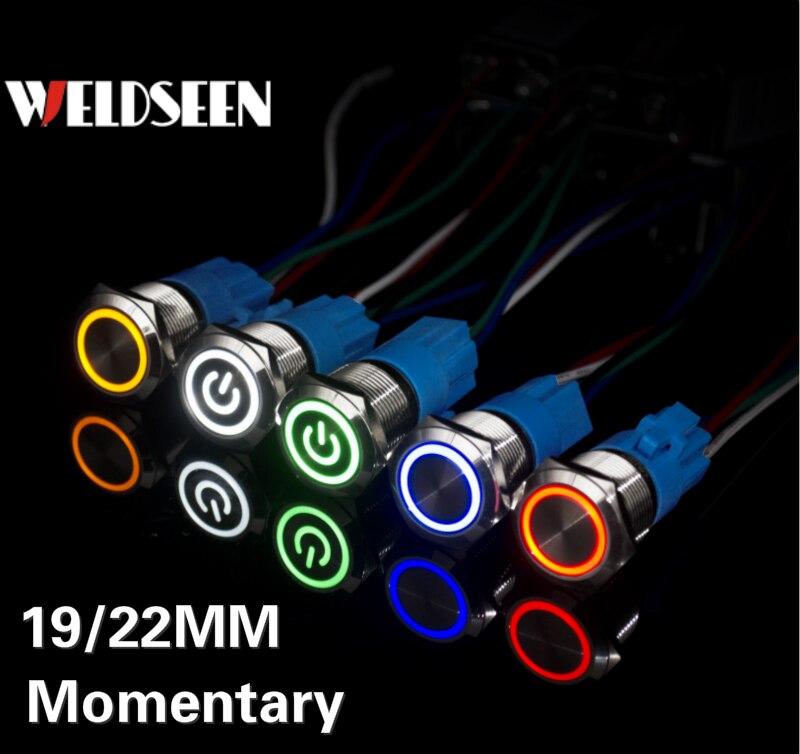 19mm 22mm Self Reset Momentary Metal Push Button Switch LED Light 3V 6V 12V 24V 220V Button Power Button With Socket