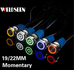 19mm 22mm Self Reset Momentary Metal Push Button Switch LED Light 3V 6V 12V 24V 220V Start Stop Button Power Button With Socket