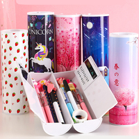 Quicksand Multifunction Cute Pencil Case School Pencil Box Plastic Cylindrical Unicorn Pencil Case Pencilcase Kawaii Stationery