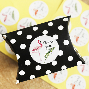108ps Flamingo Round Thank You Paper Stickers Candy Dragee Gift Box Wedding Party DIY Craft Gift Chocolate Wrapping Paper Labels image