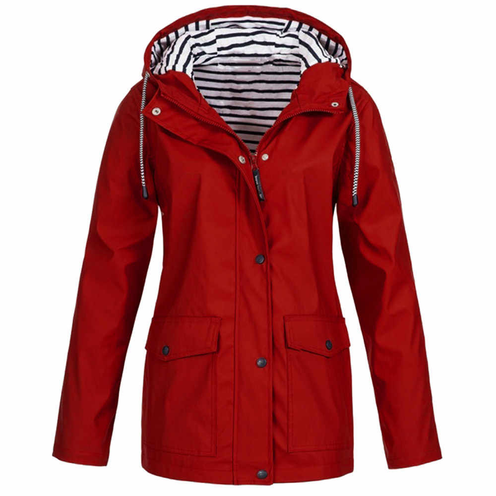 Kamp yürüyüş giysi kadınlar katı yağmur ceket açık artı boyutu su geçirmez kapşonlu yağmurluk rüzgar geçirmez ceket ropa senderismo mujer