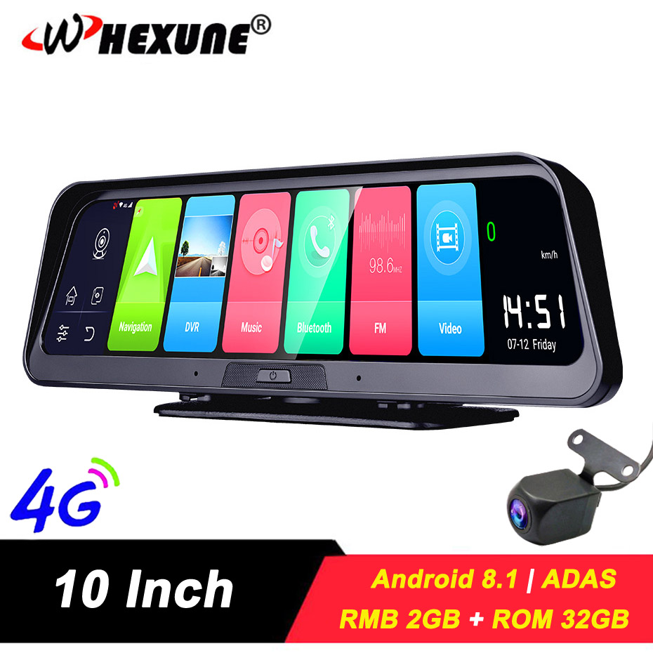 WHEXUNE 10IPS 4G Android 8.1 Smart ADAS DashCam GPS Navigation FHD 1080P Car video Camera Recorder WiFi Live Remote monitor DVR image