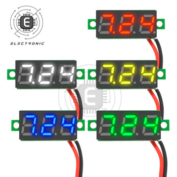 Digital Voltmeter DC 2.5V to 30V 0.28 inch Digital Voltmeter Voltage Panel Meter For 5V 6V 12V 24V Electromobile Motorcycle Car image