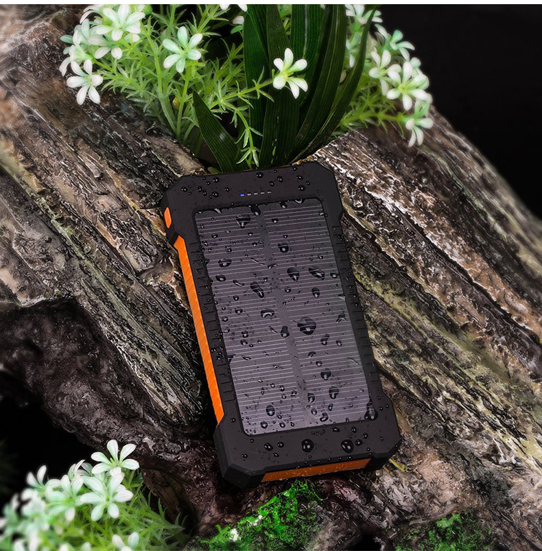 Waterproof Solar Power Bank with Polycrystalline Solar Panel with 2 USB Output Ports and Flashlight 10