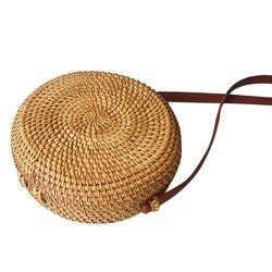 Square Round Mulit Style Straw Bag Handbags Women Summer Rattan Bag Handmade Woven Beach Circle Bohemia Handbag #YL1