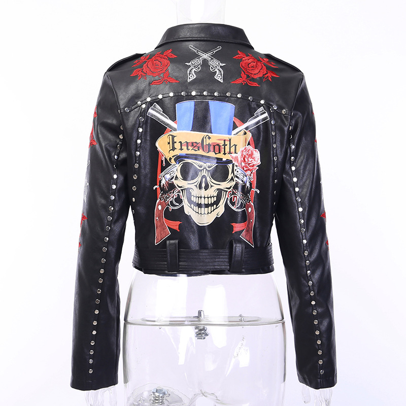 Fitshinling Embroidery Black Winter PU Jacket Gothic Rose Skull Rivet Short Jackets For Women Grunge Punk Goth Dark Coat Female in Jackets from Women 39 s Clothing