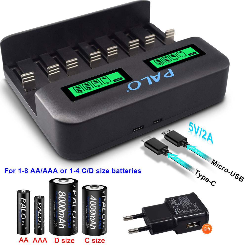 PALO 8 slots LCD display USB Smart battery Charger for AA AAA SC C D Size Rechargeable Battery 1.2V Ni-MH Ni-CD Quick