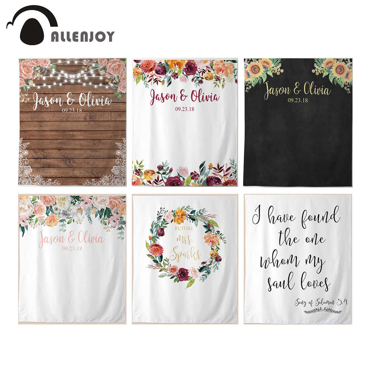 Allenjoy Wedding Photocall Marriage Photographic Wall Banner Flowers Wooden Floors Blackboard Party Backdrop Valentine S Day Aliexpress