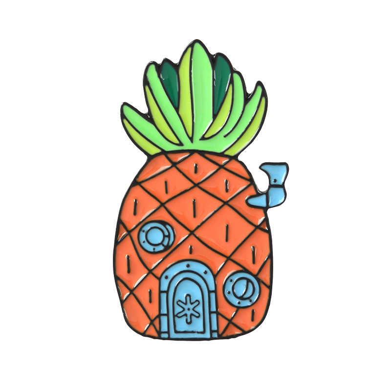 Cartoon ananas dom broszka dla kobiet SpongeBob metalowa plakietka Denim torba na ubrania emalia szpilki akcesoria broszki biżuteria prezenty