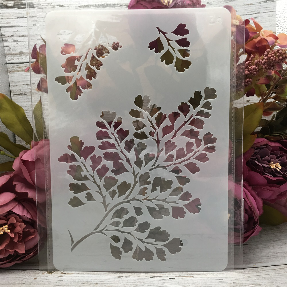 1Pcs 26*17cm Tree Leaves DIY Layering Stencils Wall Painting Scrapbook Coloring Embossing Album Decorative Card Template