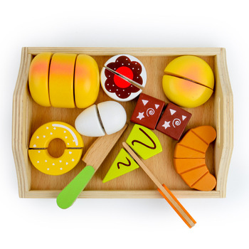 11pcs Baby Wooden Pretend Play Kitchen Toys Cutting Bread Play Miniature Food Game Early Educational Baby Gift