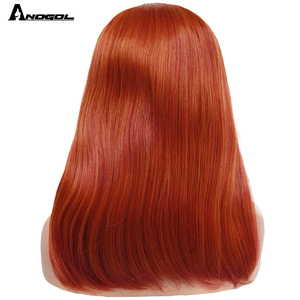 Image 3 - ANOGOL Orange Synthetic Lace Front Wigs Natural Long Silky Straight Red Wig High Temperature Fiber For White Women