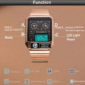 Image 4 - Boamigo marca superior de luxo relógios esportivos homem vestido digital led relógios quartzo à prova dwaterproof água relogio masculino