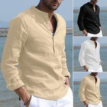 Camisas masculinas de linho de algodão sólido manga longa retro camisetas tops blusa gola homem moda casual camisas de festa de férias