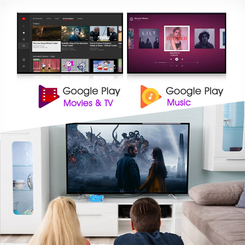Décodeur intelligent Android 9 9.0 TV Box Allwinner H6 Quad Core 6K 4GB 128GB H96 mini 2.4G/5G Bluetooth HD lecteur multimédia souris d'air - 4