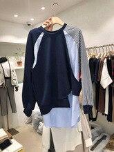 Autumn 2019 Sanitary Clothes New Wear Round-collar Stitching  Stripe Irregular Clothing Pullovers Sweatshirt Women