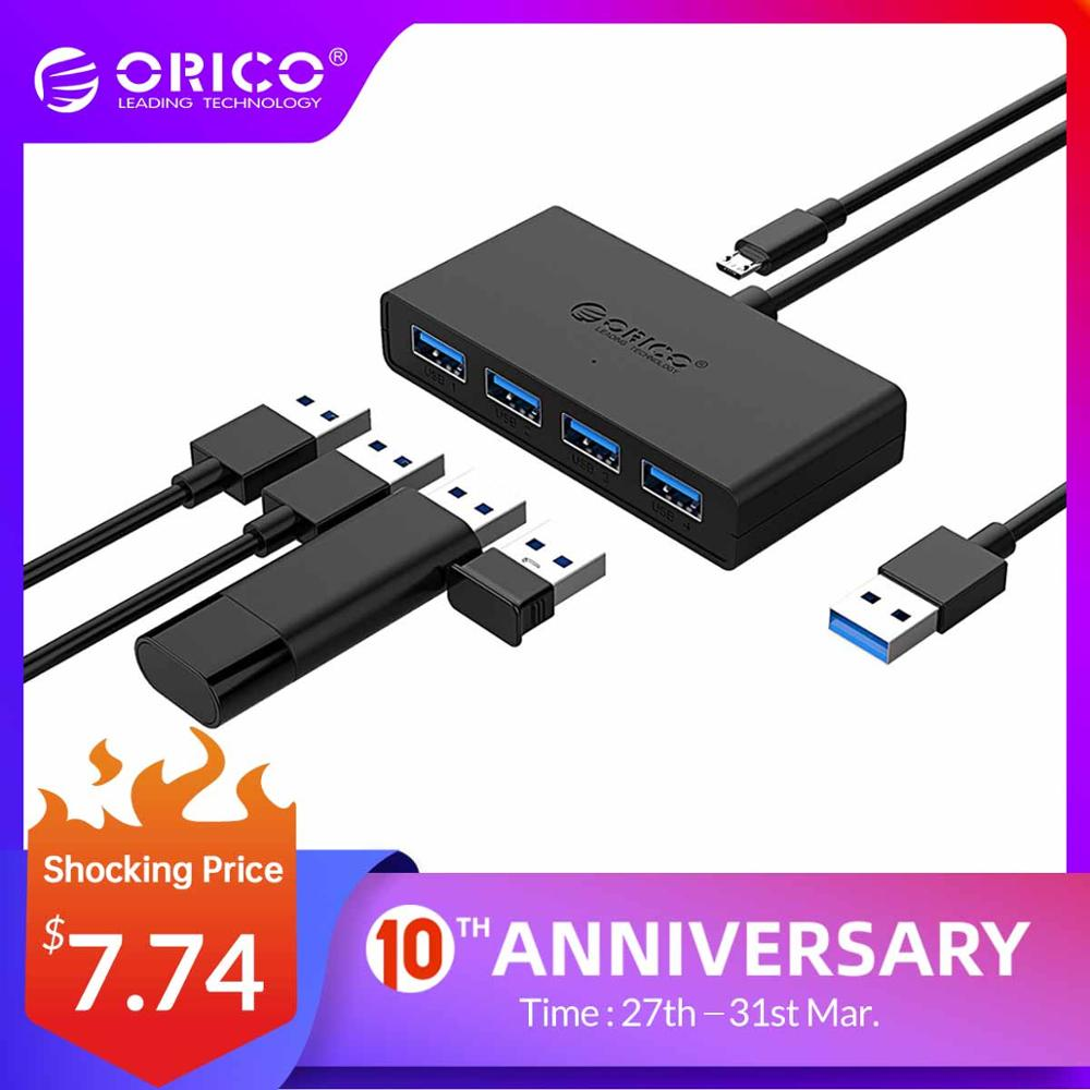 ORICO Mini USB 3.0 HUB 4 Port Power Supply OTG  With Micro USB Power Interface For MacBook Laptop Tablet Computer OTG USB HUB