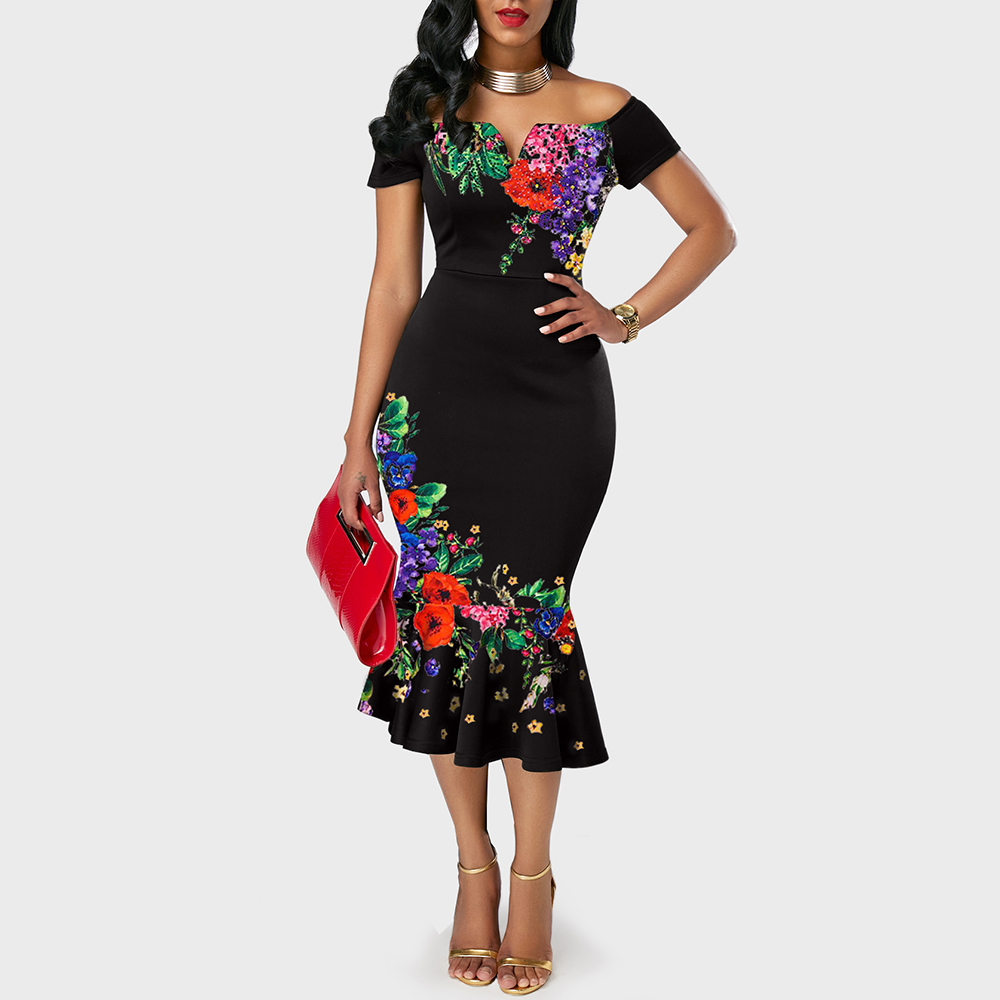 Women Bodycon Ruffle Dress Floral Print Autumn Evening Cocktail Party Dress Elegant Ladies Vintage Ruffled Trumpet Dresses D30