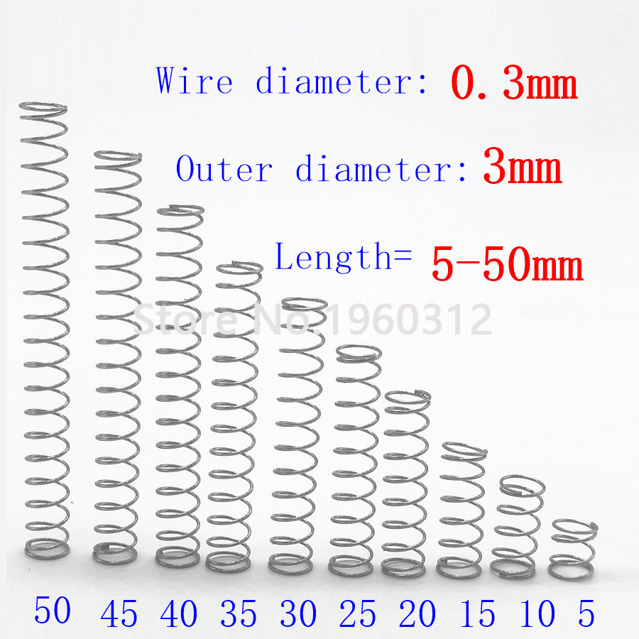 20pcs wire diameter = 0.3mm OD =3mm Stainless Steel Micro return Small Compression anti corrosion extension springs L=5-50(China)