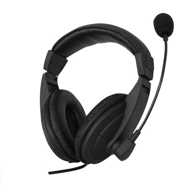 Черный 3,5 мм микрофон Регулируемая головная повязка Проводная стерео гарнитура шумоподавление наушники для компьютера ноутбука настольного компьютера Наушники и гарнитуры      АлиЭкспресс