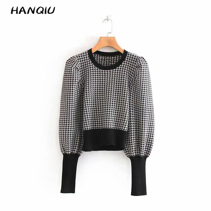 Vintage Puff Sleeve Black White Pull Plaid Sweater Women Pullovers Casual O Neck Houndstooth Knitted Sweater Kawaii Tops Winter