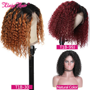 Image 5 - Klaiyi Hair Curly Bob Human Hair T1B99J/T1B30/Natural Wigs 8 14 inch Pre Plucked Remy Hair 13*4 Lace Front Wig 130% 180% Density