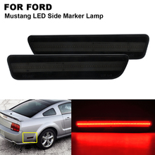 2 pieces Smoked Lens Red LED Rear Bumper Side Marker Lamp For FORD Mustang 2005 2006 2007 2008 2009 Fender Marker Lights