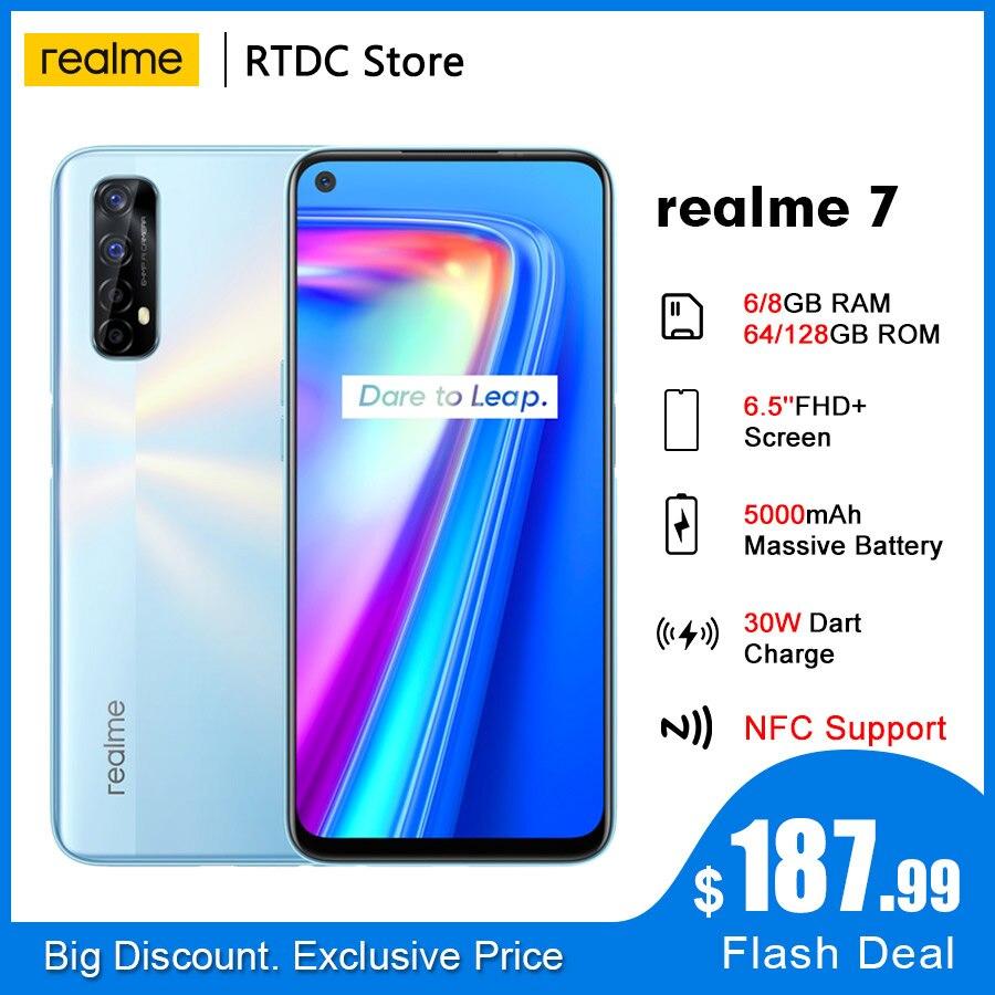 Realme 7 RMX2155 NFC 6,5 ''FHD + Global 6/8GB/64 Гб 128 Гб Смартфон 30 Вт Дротика Зарядка 5 В/6A Helio G95 48MP 5000 мА/ч, мобильный телефон