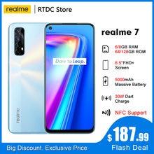 Realme 7 rmx2155 nfc 6.5 fffhd + global 6/8gb 64/128gb smartphone 30w dardo carga 5v/6a helio g95 48mp 5000mah telefone móvel