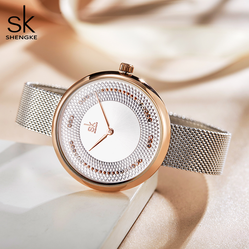 SHENGKE 2019 Ladies Watch Pearl Luxury Ladies Crystal Watch Women Watches Rose Gold Womens Watches Relogio Feminino Montre Femme