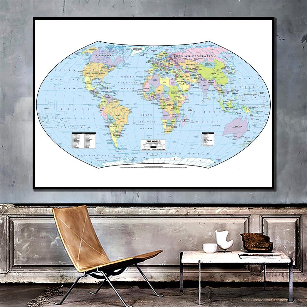 The World Map Hammer Projection Country Map With Capital 150x100cm Vinyl Spray Map