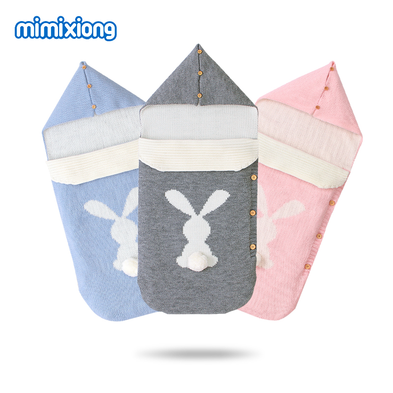 Baby Sleeping Bags Stroller Cute Rabbit Knittted Newborn Swaddle Wrap Sleep Sacks 0-6Months Infant Bebes Envelopes Footmuff Warm