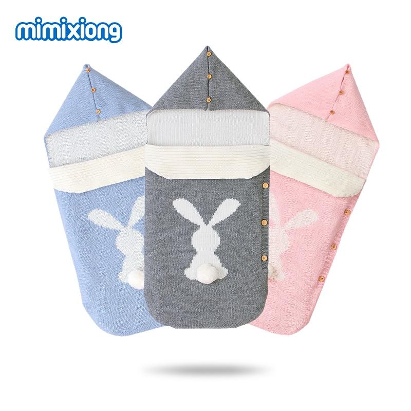 Baby Sleeping Bags Stroller Cute Rabbit Knittted Newborn Swaddle Wrap Sleep Sacks 0-6Months Infant Bebes Envelopes Footmuff Warm