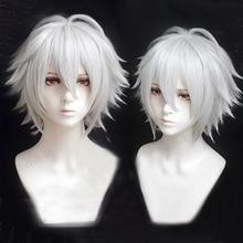 Division Rap Battle Hypnosis MIC Aohitsugi Samatoki Short Silver White Wig Heat Resistant Synthetic Hair Cosplay Wigs + Wig Cap