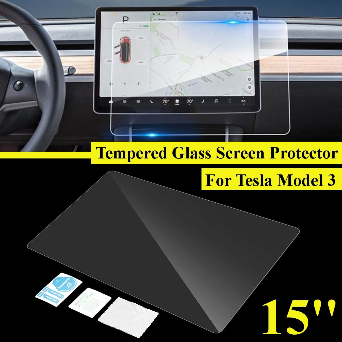 15 inch Car Navigation Touch Screen Transparent Protector 9H Anti-Glare 0 3mm Tempered Glass For Tesla Model 3
