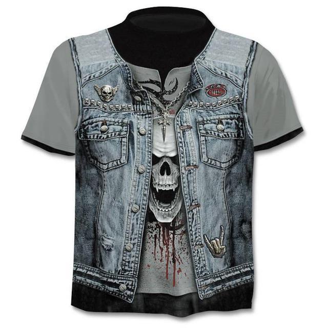 New Mens Skull T shirts Brand punk  style finger skull 3Dt- shirts Men Tops Hip hop 3d print skull punisher T-shirt dropshipping 8