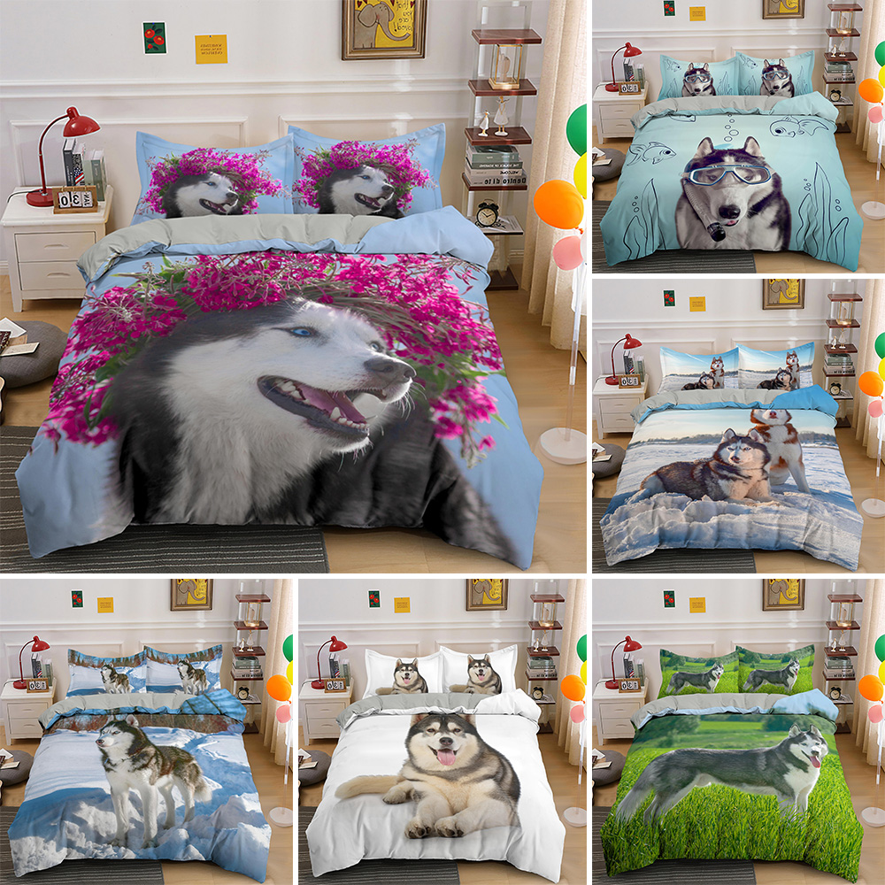 Husky Pet Dog Lovely Animal Bedding Set For Adult Kids Bed Covers King Queen Size Duvet Cover Sets Luxury Bedclothes Customize
