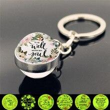 цена на WG 1pc Bible Scripture Glowing Keychain Pendant Cabochon Glow In The Dark KeyChain Holder Keychain For Christian Jewelry
