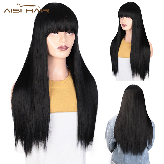 I's a wig Black Long Straight Wig With Bangs Synthetic Hair Wigs for Women 613 Blonde Red Heat Resistant Cosplay Wigs 2
