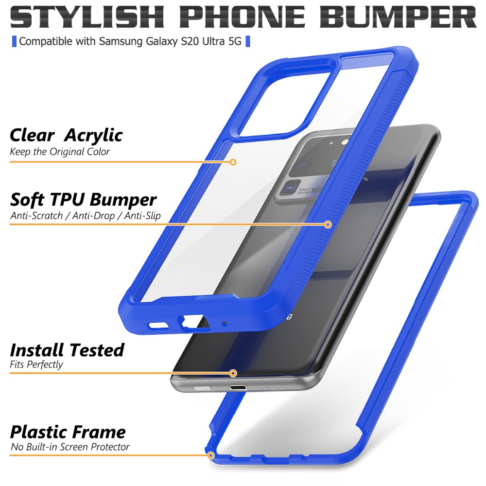 PC + TPU Military Shock Absorption Case For Samsung S20 Ultra S20 S10 Plus S10 E S10 5G Transparent Ultra-Thin Protective Cover (12)